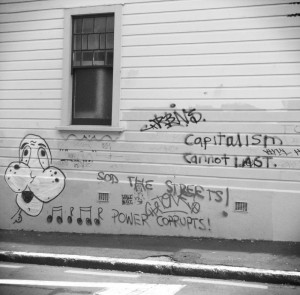 Capitalism cannot last - Basin Reserve graffiti