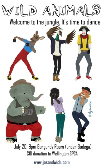 a poster showing animals dressed as hipsters dancing like Thom Yorke