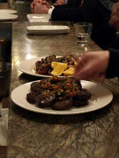 Grilled black pudding, sweetbreads, and kidneys
