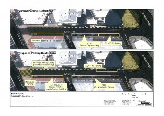 Current and proposed layouts for Bond Street