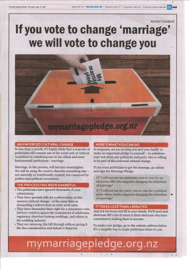 The advert that the Dominion Post (and NZ Herald) were paid to publish.