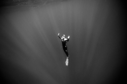 Conservationist and dive safety officer Ocean Ramsey surfaces while free diving off the coast of Haleiwa. Photographer: Donald Miralle