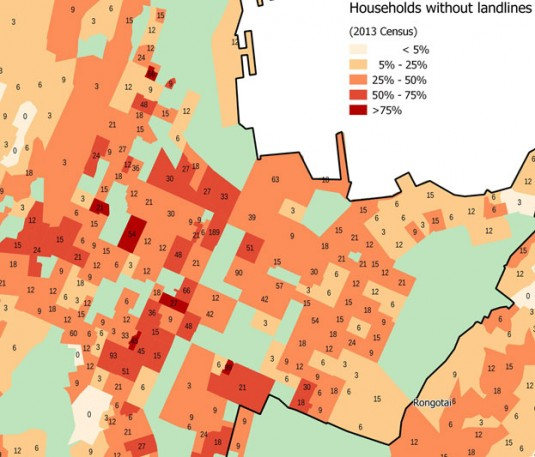 Map of Te Aro households without landlines
