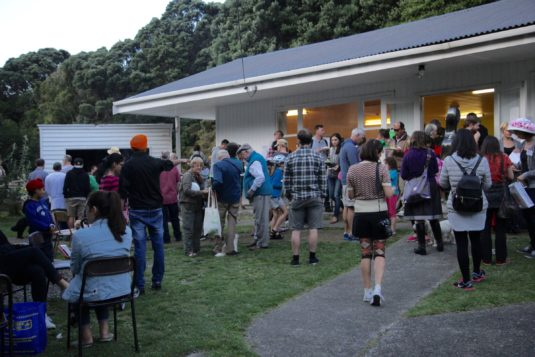 At the Innermost Gardens' Charles Plimmer hall, Crossways Community treasure hunters have a barbecue.