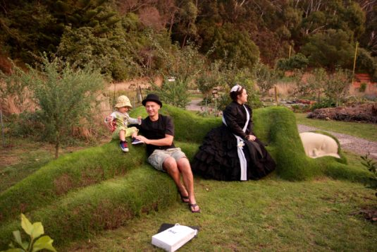 """Queen Victoria and friends rest on Grant Lyon's living sculpture """"Yeah, Nah""""."""