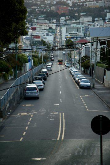 A view towards Kelburn from the Hataitai Bus Tunnel, Pirie Street, Mount Victoria.