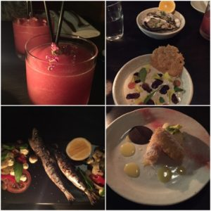 Five & Dime WOAP dishes. Clockwise from top left: Wellington slushie, almond gazpacho and truffled white miso oysters, pineapple fritter, grilled sardine puttanesca.