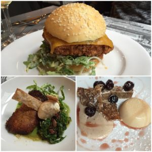 Ti Kouka's WOAP dishes. Clockwise from top: TKFC burger, Cherry Bomb pannacotta, pulled confit chicken.