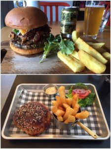 WOAP burgers at Grill Meats Beer (top) and Park Kitchen (bottom).