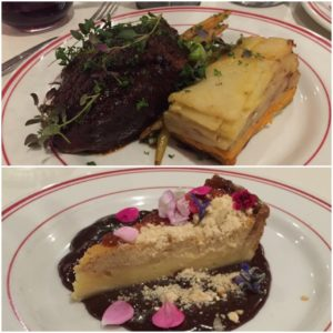 Five Boroughs WOAP dishes. Top: beef pot roast. Bottom: baked buttermilk pie.