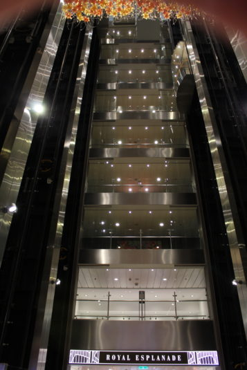 Half a dozen glass elevators transport guests and crew between the 18 different levels.