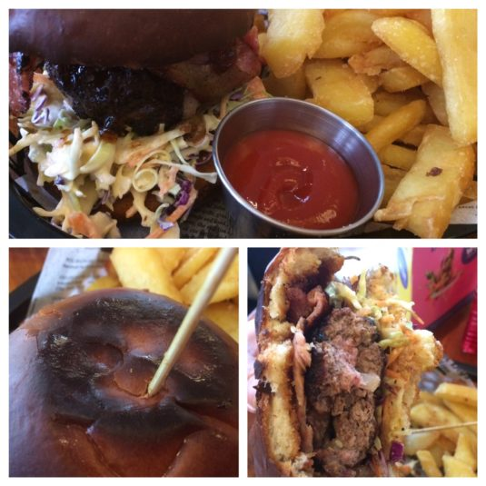 three pics of the same burger
