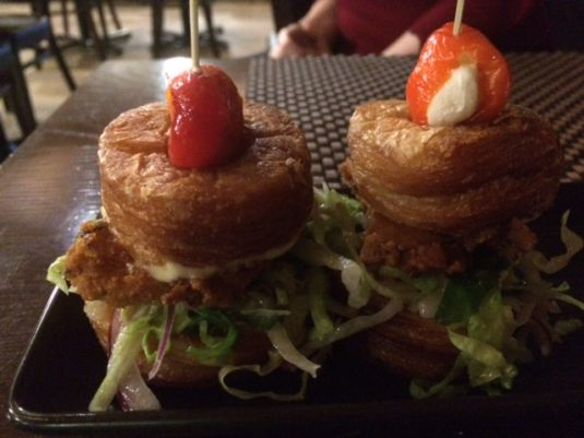 two mini chicken burgers