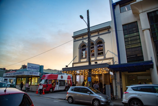 Outside of Black Dog on Cuba Street, showing the Beat Kitchen foodtruck parked next door