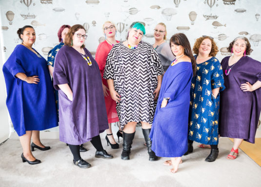 Group of fat women in great sack dresses