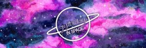 The title of the show 'Yesterday, in space' against a pink and purple galaxy background