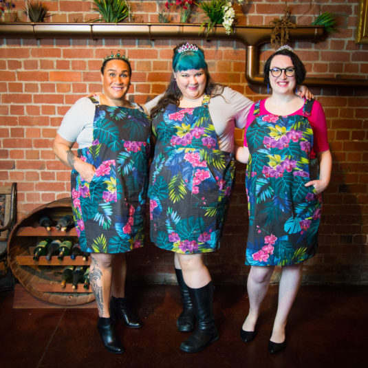 three fat babes in orchid pinafores