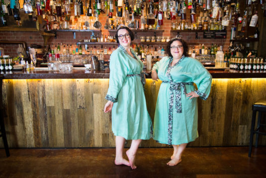 two fat babes in mint green plus size robes made of linen